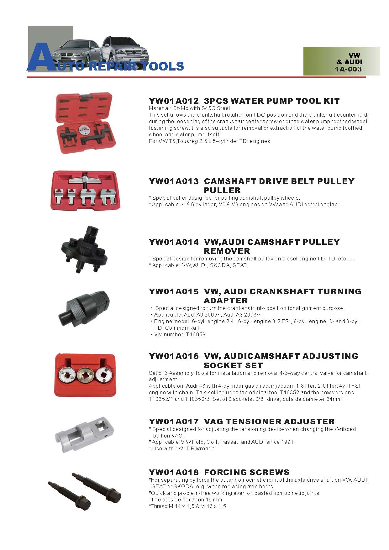 Years Way Auto Repair Tools - VW & AUDI Special Tools